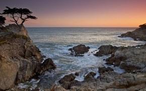 Cyprus, sea, rocks, waves, sunset