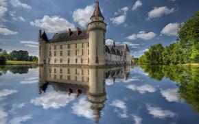 castillo, agua, cielo, reflexin