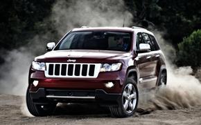 camionetta, Grand Cherokee, SUV, anteriore, rosso, zanos.pyl, Camionetta
