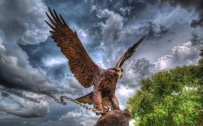 eagle, chain, sculpture, metal, sky, clouds