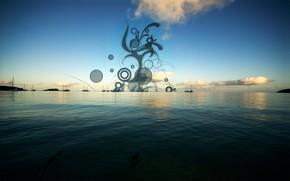 mare, onde, tramonto, cielo