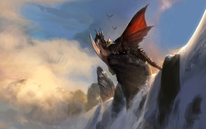 Art, dragon, rock, waterfall, Sitting