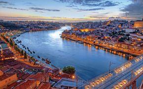 Лиссабон, Португалия, река, мост, вечер, здания, корабли