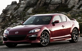 мазда, спорткар, красный, передок, камни, Mazda