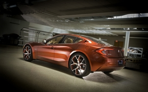 Fisker, Atlantic, Concept, red, hybrid, back view, garage, twilight, Other brands