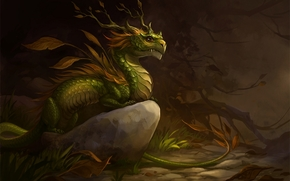 Art, dragon, leaves, stone, forest, autumn