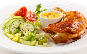 chicken, salad, sauce, spices, tomato, cucumber, parsley, plate