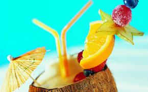 Коктейль, долька, апельсин, зонтик