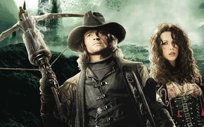 Van Helsing, Van Helsing, Hugh Jackman, Kate Beckinsale, film, Heroes, castle, moon, bloodsuckers, Hugh Jackman, Kate Beckinsale, weapon, Vampires, film, Movies, movie