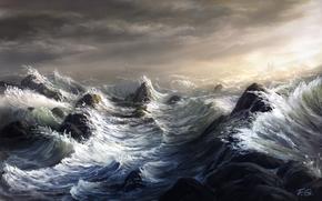 Art, sea, waves, storm, lighthouse, sailing ship, ship, rocks, Reefs