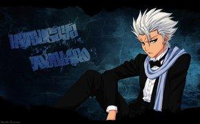 tipo, Hitsugaya Toushiro, biondo, vista, stato d'animo, Smoking, sciarpa, Candeggina