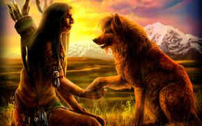 Injun, Boom, piumaggio, dhole, campo, Montagne, tramonto