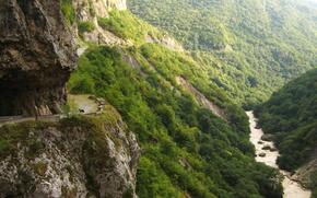 Russia, CBD, Cherek canyon, Montagne, fiume, Cherek, strada