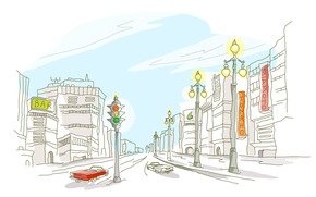 drawing a city, vector, white background