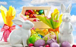 пасха, яйца, шоколад, тесьма, подарки, статуэтки, кролики