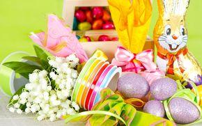 пасха, яйца, шоколад, шоколадный заяц, тесьма, ландыши, подарки
