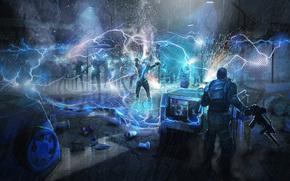 night, zombie, rain, lightning, DISCHARGE, automatic, muzhik