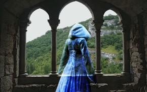 старый замок, развалины, девушка, дух, воспоминания