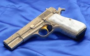 gun, silver, etching, Gold trigger