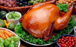 курица, пища, пир, ягоды, тарелки, овощи, фрукты, блеск, зелень, перец