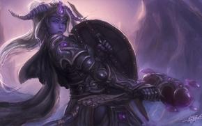paladin, girl, Warrior, armor, hammer, Horn, cave