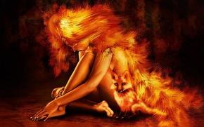 girl, fox, nude, hair