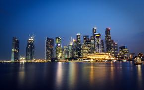 Malezja, Singapur, miasto-pastwo, megalopolis, Wieowce, noc, wiata, podwietlenie, Niebieski, niebo, bet, odbicie