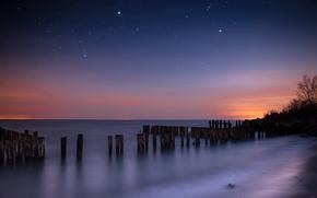 noc, niebo, Gwiazda, Konstelacja, morze, gadka powierzchnia