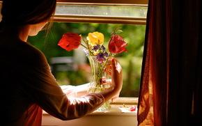 房子, 窗口, 花卉, 女孩, 安慰, 心情