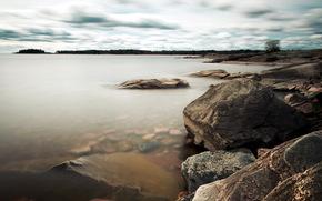 озеро, камни, природа, пейзаж