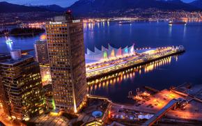 city, vancouver, evening, wharf, home, sea, Mountains