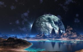 fantasy, alien world, planet, Mountains, water, small river, Star