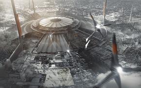 city, future, megalopolis, dome, building, smoke, Pipe, ship, plane