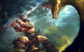 Conan the barbarian, two-handed, sword, jungle, great, snake, scramble