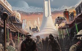 future, planet, market, shop, cars, Mountains, people, Robots