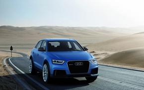Audi, Car, SUV, moscha, crossover, German, Ring, blue, track, highway, Sport, CDs, xenon, asphalt, desert, Carbon, horizon, Audi