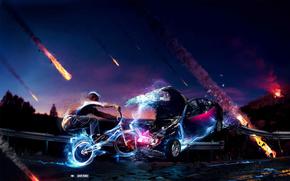 Collisione, bicicletta, macchina, metior, Photoshop, BMX