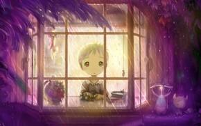 окно, дождь, мальчик