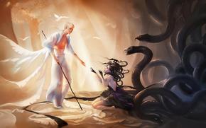 girl, man, white hair, gloves, bare shoulders, barefoot, Trees, profile, Birds, Bandage, lap, forest, snake
