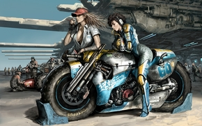 Art, Girls, motorcycle, weapon, race, expectation