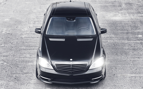 Mercedes Benz, with class, Black, asphalt, lights, highlight, mercedes