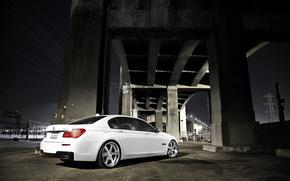 BMW, white, night, bridge, concrete base, transmission line, lap, bmw