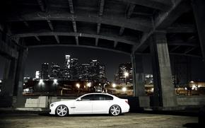 BMW, white, night, bridge, concrete base, city, megalopolis, Skyscrapers, bmw