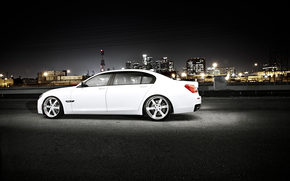BMW, white, night, city, megalopolis, Skyscrapers, bmw