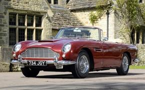 Aston Martin, Volante, anteriore, rosso, classico, casa, Aston Martin