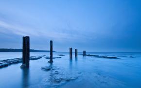 Regno Unito, Inghilterra, Mare del Nord, costa, Di legno, Pilastri, sera