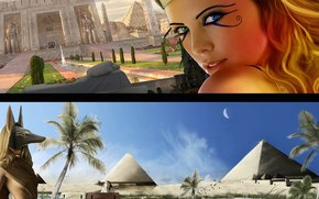 cover, girl, Egypt, pyramids