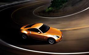 cars, car, machinery, machine, Nissan, orange, motion, road, nissan