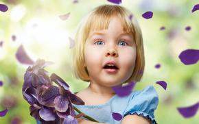 zaskakujco, dziewczyna, dzieci, pikny, adny, Dziecistwo, szczcie, kolory