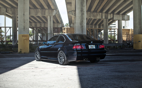 BMW, dark blue, bridge, concrete base, bmw